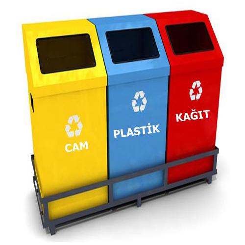 Net 7604 üçlü Geri Dönüşüm Kutusu Net çöp Konteyner